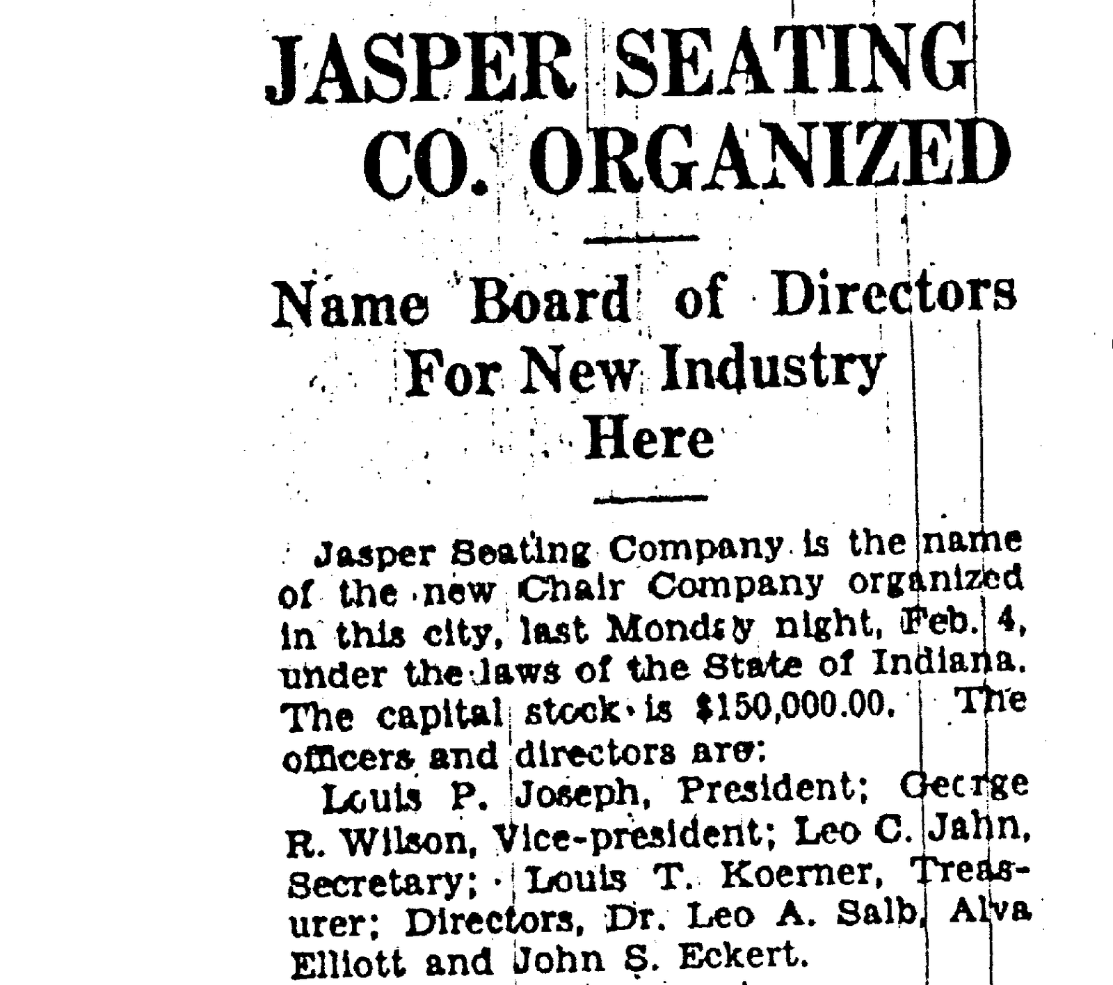1929 News Article Graphic