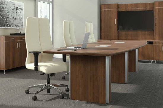 Bravado conference table, media wall and credenza with Tyler swivel seating