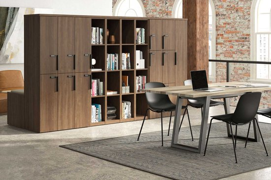 Flux lockers shown with Native table and wink seating