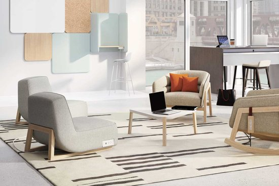 Indie lounge with occasional tables and Reef tables with Bourne stools
