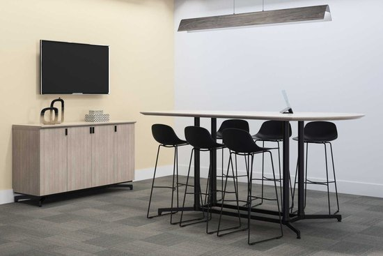 Lok conference table and credenza with Wink mini stools
