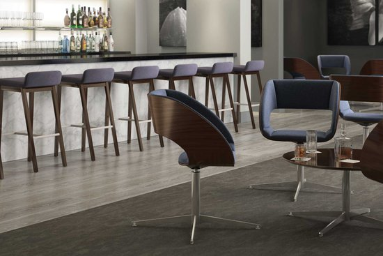 Bourne stools and Luci lounge with Luci occasional tables