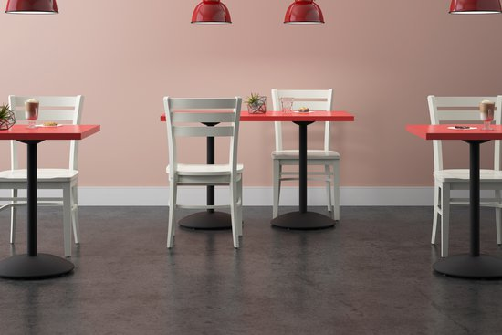 Melrose chairs with Menu tables