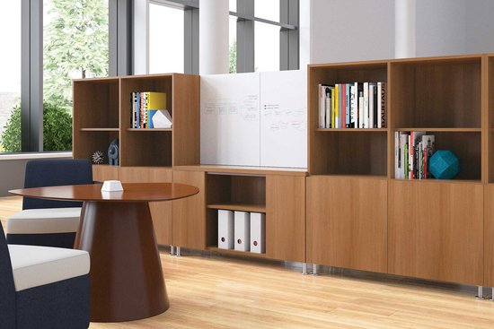 Moto lounge with table and casegoods