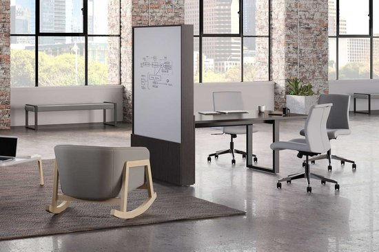 Native media wall space divider with runoff table, shown with Proxy and Indie seating