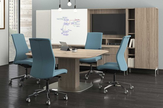 proxy swivel chairs with flux adjustable-height table and casegoods